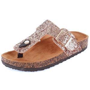 ef79336d8381 Rose Gold Blush Glitter Birkenstock Style Sandal